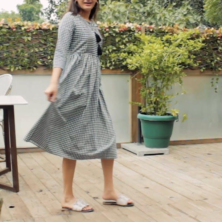 Monochrome Gingham Checks & Tassel Detail Midi Dress