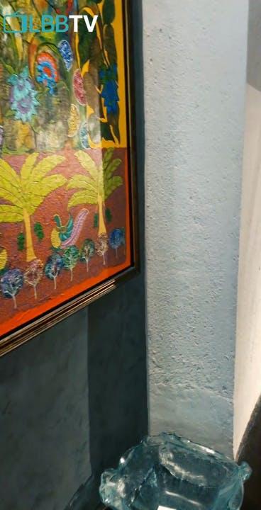 Wall,Leaf,Room,Painting,Tile,Art,Interior design,Visual arts,Tree,House