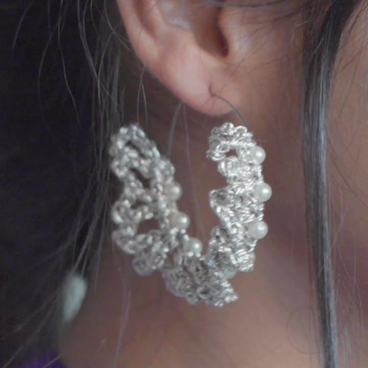 Silver Beaded Crochet Hoops (Pearl)
