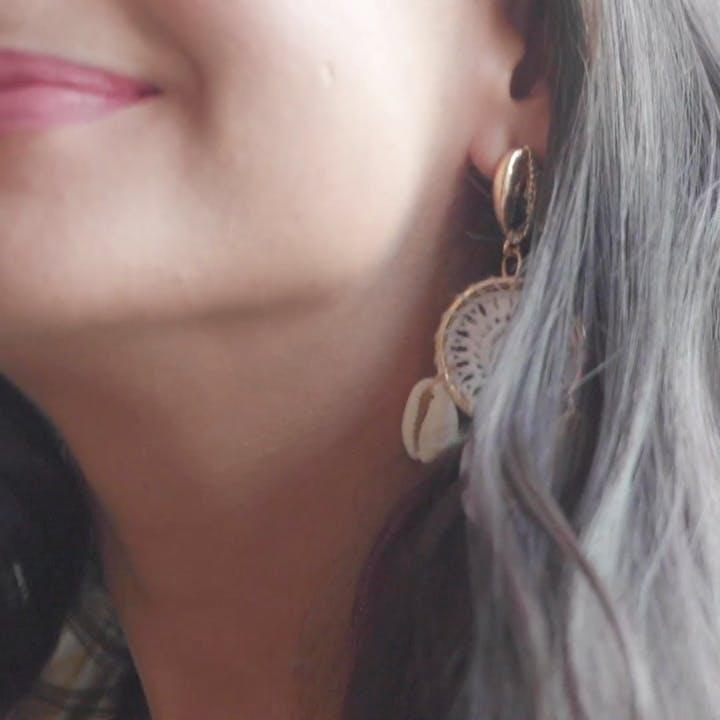 Shell Detail Dream Catcher Drop Earrings