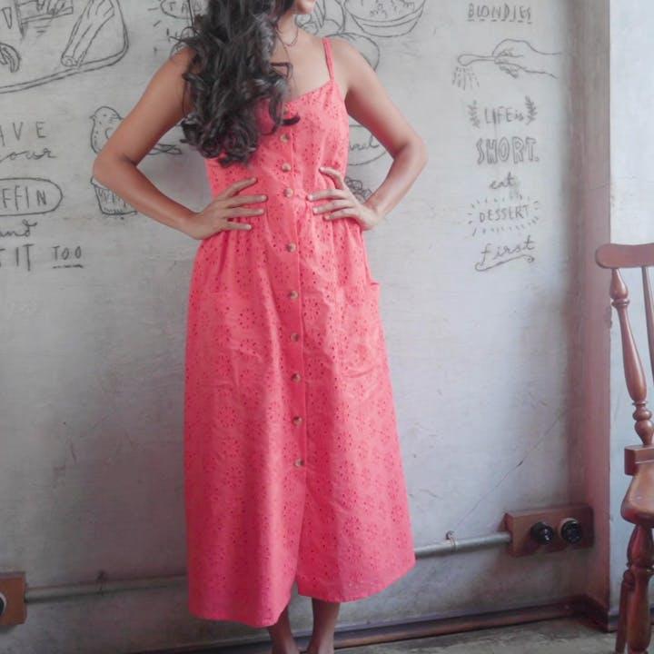 Clothing,Dress,Pink,Day dress,Red,Lady,Formal wear,Shoulder,Pattern,Bridal party dress