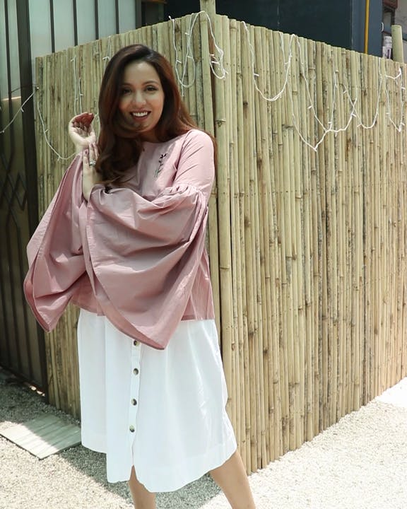 Clothing,White,Pink,Street fashion,Fashion,Outerwear,Dress,Footwear,Shoulder,Robe