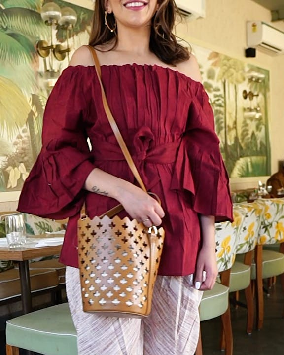 Clothing,Shoulder,Product,Maroon,Yellow,Sleeve,Fashion,Blouse,Joint,Outerwear