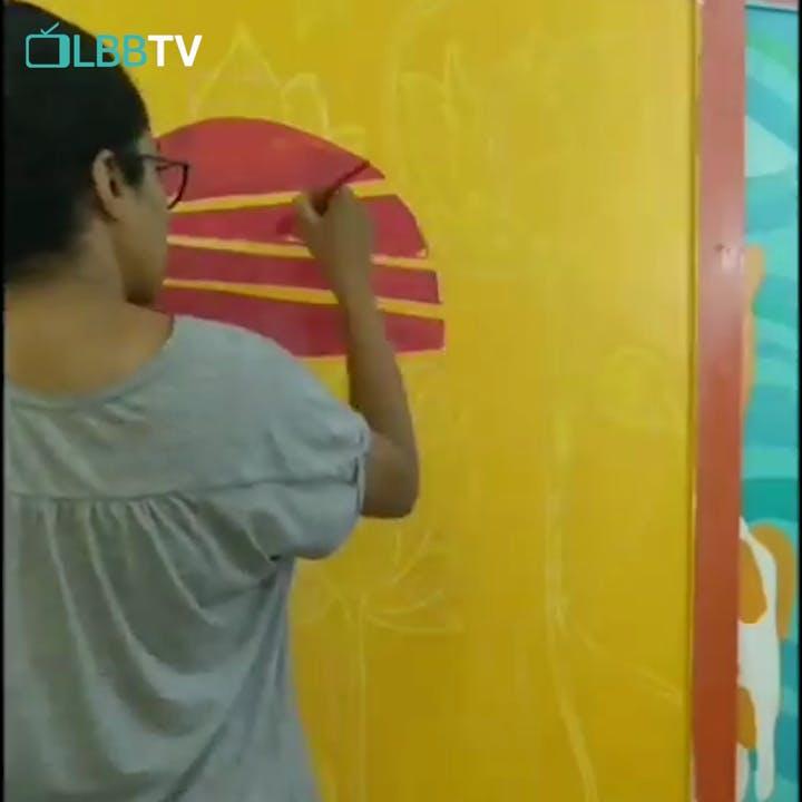 Yellow,Blue,Wall,Snapshot,Art,Painting,Mural,Modern art,Paint,Visual arts