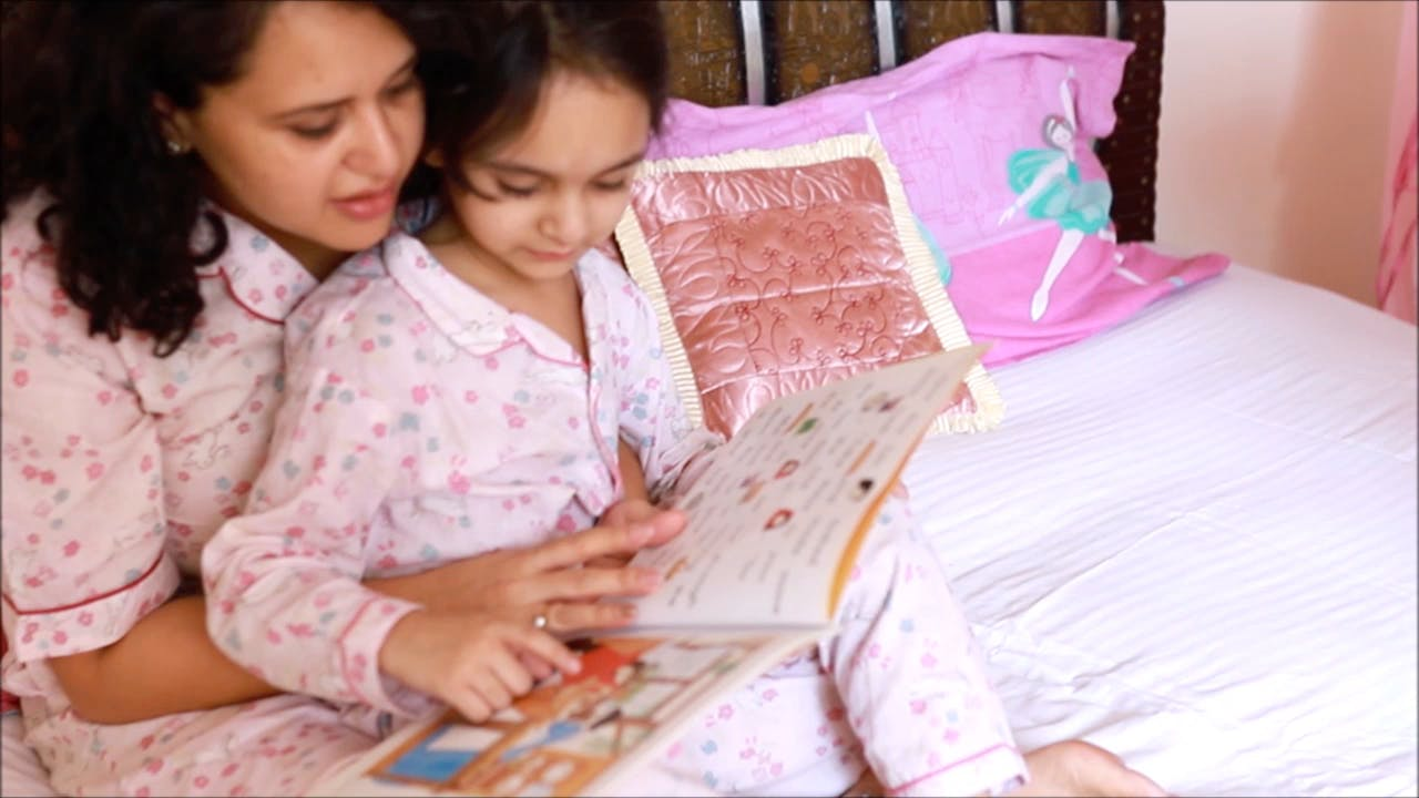 Pink,Child,Textile,Reading,Learning,Room,Bed sheet,Pajamas,Linens,Bedtime