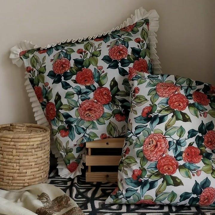 Orange,Textile,Rectangle,Font,Creative arts,Decoration,Linens,Pattern,Flower,Plant